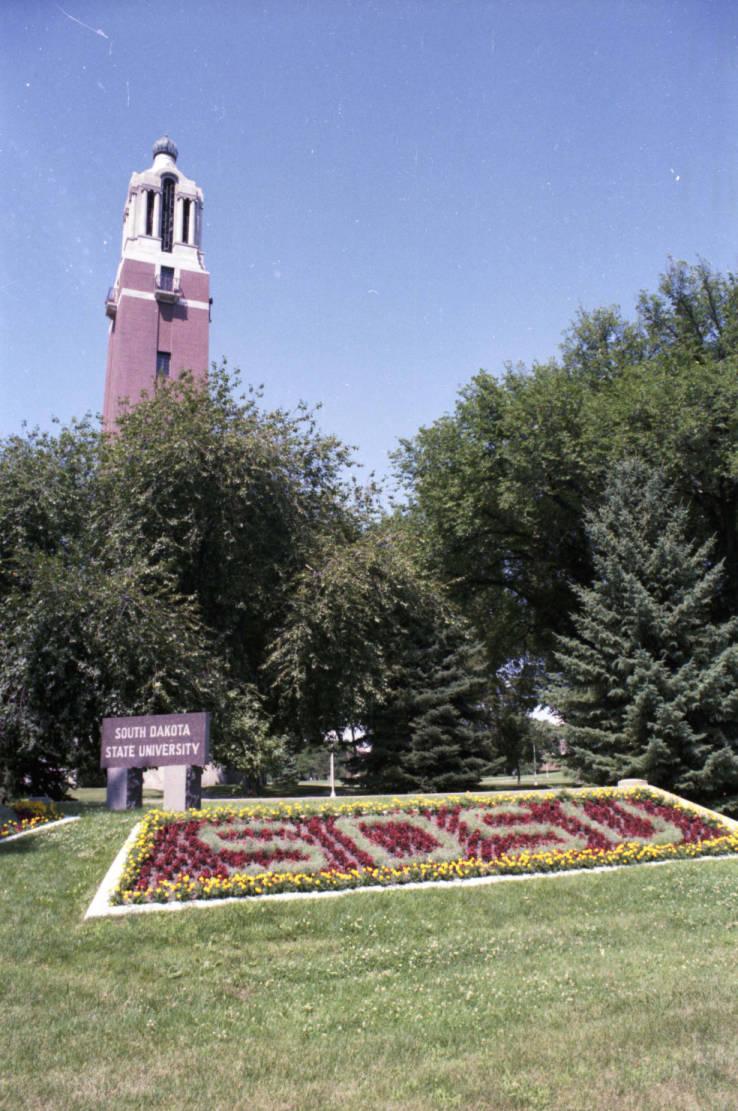 Campus gateway at South Dakota State University in 1982